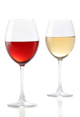white wine glass: Two glasses of wine, one with red and the other with white