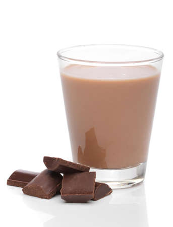 Glass of chocolate milk with broken chocolate bars