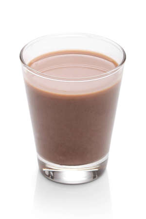 Glass with chocolate milk, over white, with clipping path photo