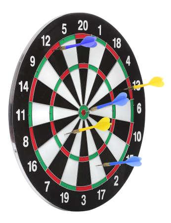 Dartboard bull�s eye. Isolated on white background Stock Photo