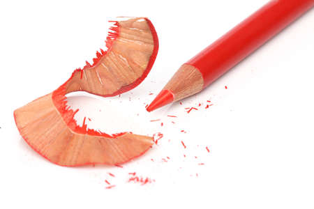 sharpener: Recently sharpened red pencil over white Stock Photo