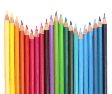 Lápices de colores sobre fondo blanco Foto de archivo