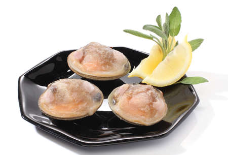 Three clams with lemon over white photo