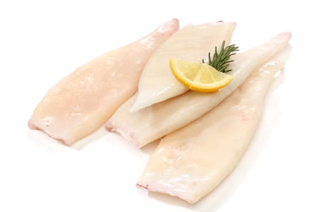 squid: Raw squid tubes with lemon and rosemary