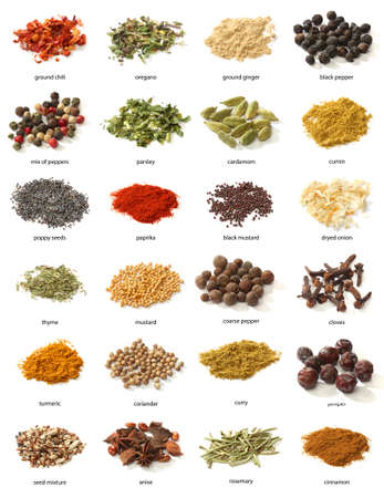 cumin: Different spices isolated on white background  Large Image
