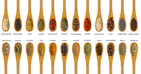 cheff: Different spices isolated on white background  Large Image