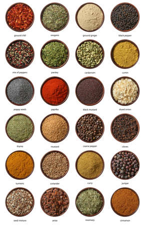dryed: Different spices isolated on white background  Large Image