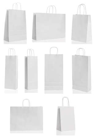 paper bag: Various paper shopping bags isolated over white background