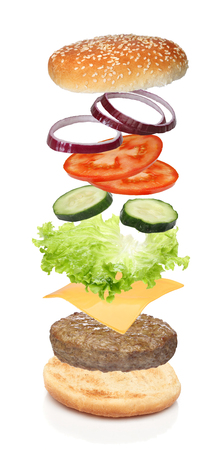 Flying ingredients of hamburger isolated on white