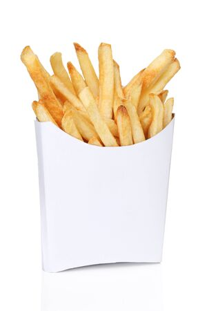 French fries in a white box isolated Banco de Imagens