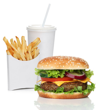 Hamburger with french fries and a cola drink, isolated on white Stock Photo
