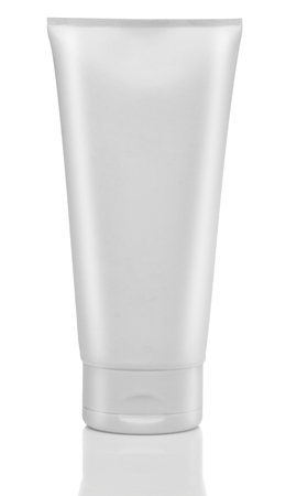 White tube of cream or gel. Cosmetics. Isolated Archivio Fotografico