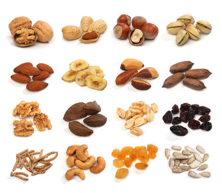 Sammlung von gesunden Trockenfrüchten, Getreide, Samen und isoliert auf weißen Hintergrund Nuss. Großes Bild