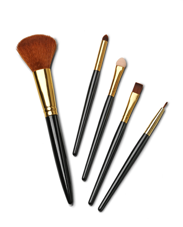 Cosmetics and beauty. Make-up brushes on white isolated background Imagens
