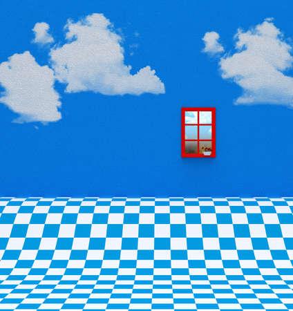 青白の床とウィンドウ