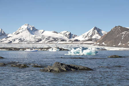 alpine tundra: Typical Arctic summer landscape - mountains and the sea - Spitsbergen, Svalbard Stock Photo