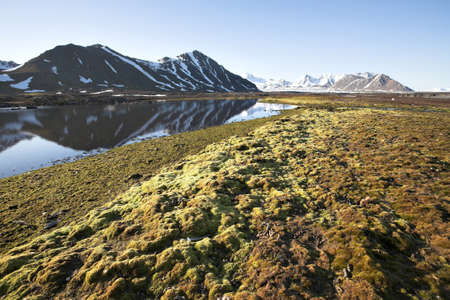 svalbard: Summer Arctic landscape, Spitsbergen, Svalbard Stock Photo