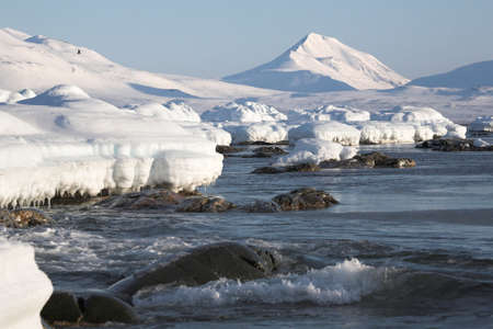 tundra: Winter Arctic landscape, Spitsbergen, Svalbard