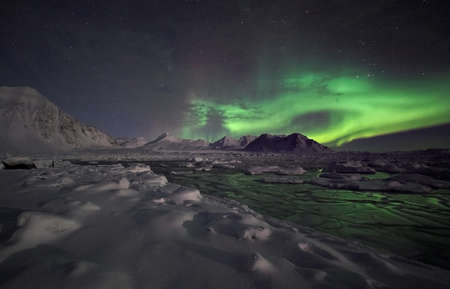 iceland: Natural phenomenon of Northern Lights (Aurora Borealis)