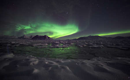 Natural phenomenon of Northern Lights (Aurora Borealis)  photo