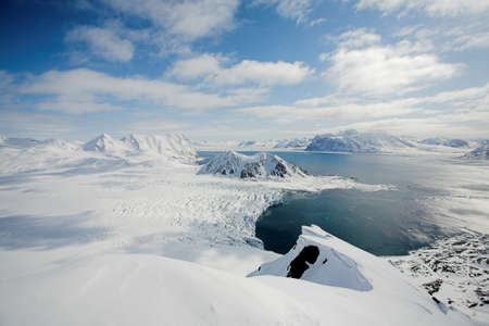 arctic landscape: View from the mountains - Arctic landscape, glaciers and Arctic Ocean