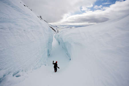 crevasse: Inside the big glacier crevasse (Arctic, Spitsbergen, Svalbard)