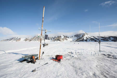 polar station: Remote automated meteorological station on the glacier