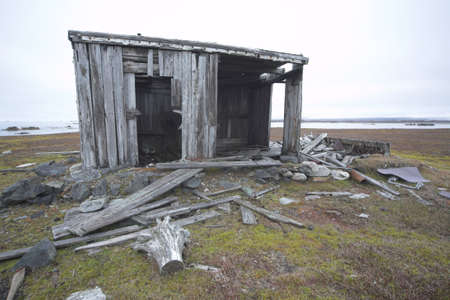 wooden hut: Very old, abandoned wooden hut