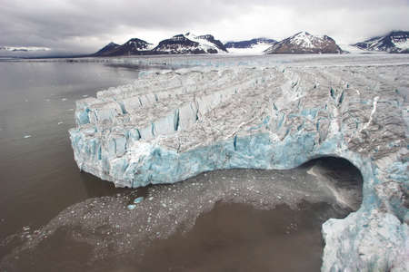 warming: Arctic winter glacier landscape - Svalbard Stock Photo