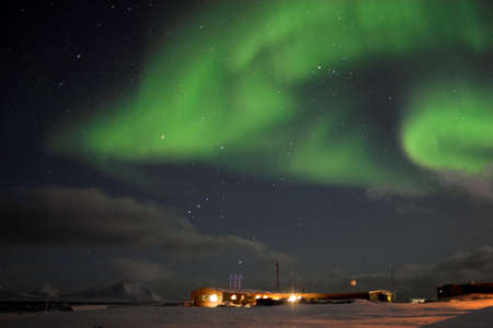 polar station: Northern Lights over the Polar Station, Arctic
