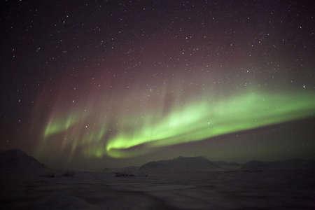 spitsbergen: Colorful Northern Lights - Spitsbergen Stock Photo