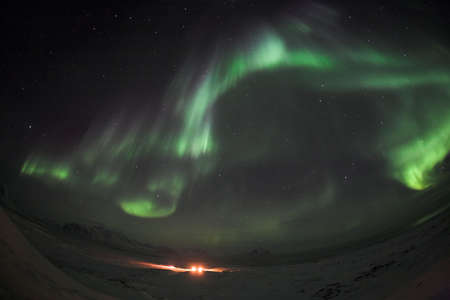 polar station: Northern Lights above the Polar Station - Spitsbergen, Arctic
