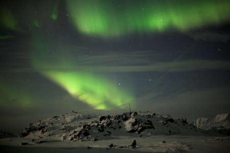 magnetosphere: Artico paesaggio invernale con Northern Lights Archivio Fotografico