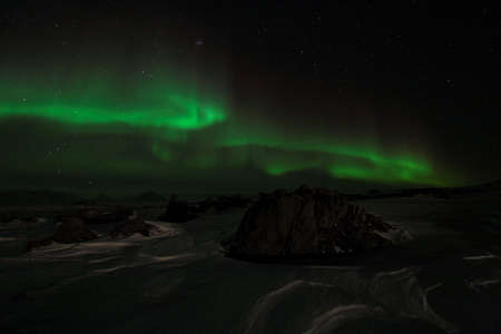 magnetosphere: Arctic winter landscape with Northern Lights