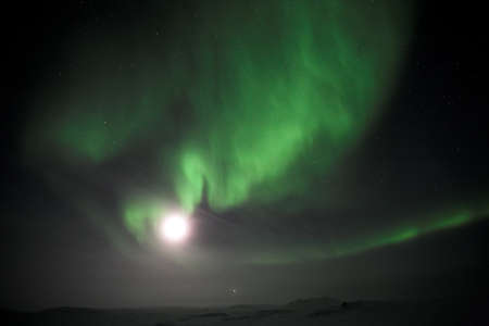 Moon and Northern Lights, Arctic photo