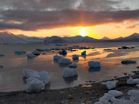 svalbard: Sunrise in the Arctic - Svalbard Stock Photo