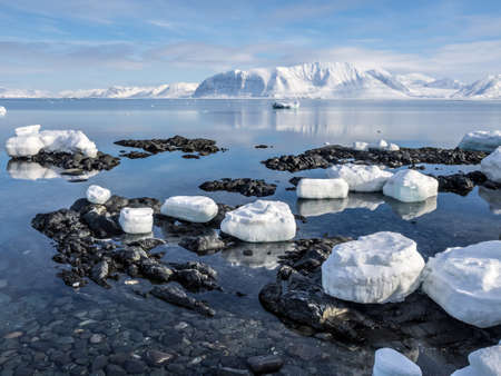 glacial: Arctic landscape - ice, sea, mountains, glaciers - Spitsbergen, Svalbard