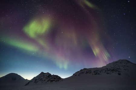 magnetosphere: Arctic magical landscape - Northern Lights - Spitsbergen, Svalbard
