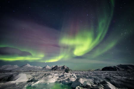 ray of light: Arctic magical landscape - Northern Lights - Spitsbergen, Svalbard