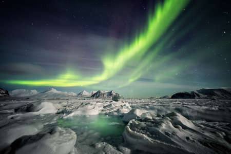 arctic landscape: Arctic magical landscape - Northern Lights