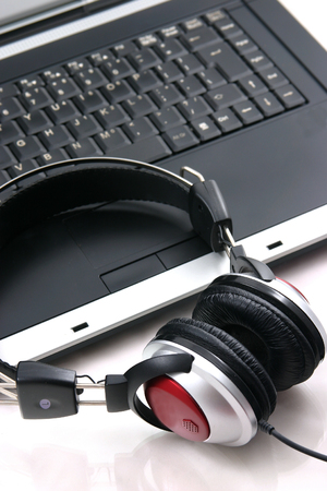 Laptop, headphones photo