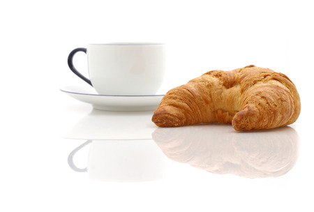 Croissant, cup of coffee Stock Photo