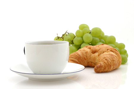 caf: Croissant, cup of coffee Stock Photo