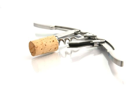 Cork and elegant corkscrew Stock Photo