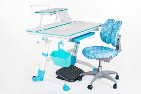schooldesk: Blue chair, school desk, blue basket, desk lamp and black support under legs