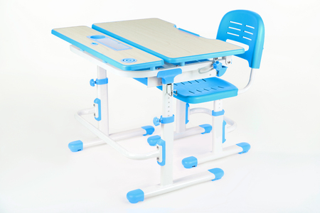 schooldesk: Blue chair and school table on the white isolated background.