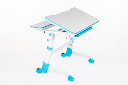 Blue school desk is isolated on a white background Stock Photo