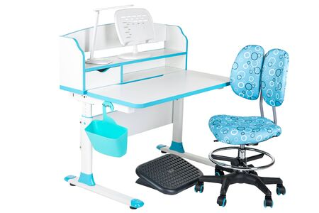 schooldesk: Blue chair, school table, blue basket, desk lamp and black support under legs on the white isolated background.