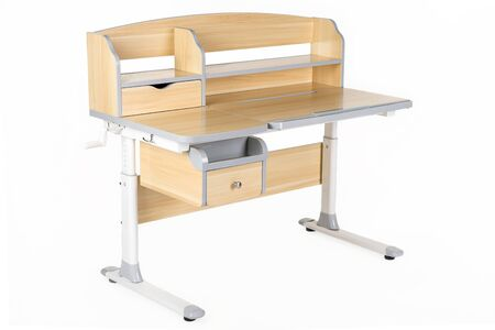 schooldesk: Wooden school table on the white isolated background.