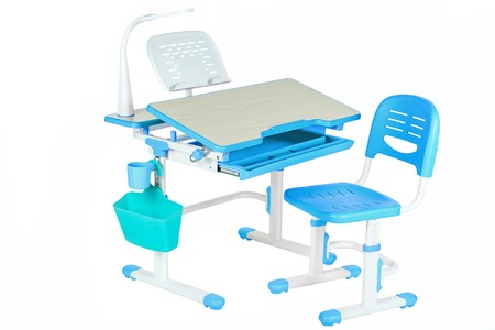 schooldesk: Classical blue chair, school table and blue basket on the white isolated background. Stock Photo